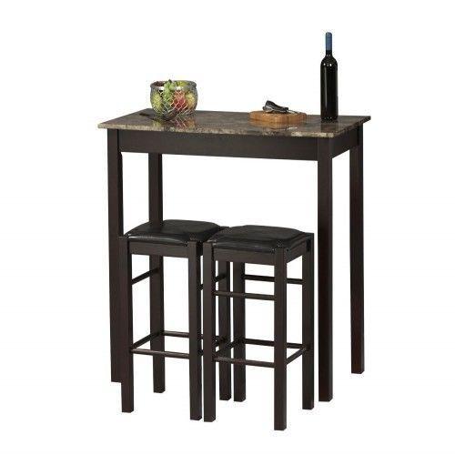 Table Set Vintage Bar Portable 3-Piece Espresso living Room Kitchen Shop Coffee #Linon