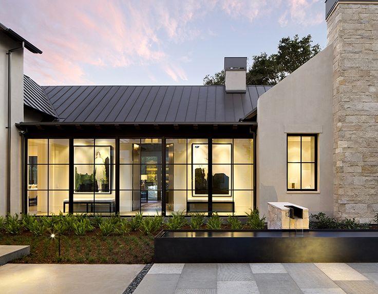mid century exterior modern farmhouse villa