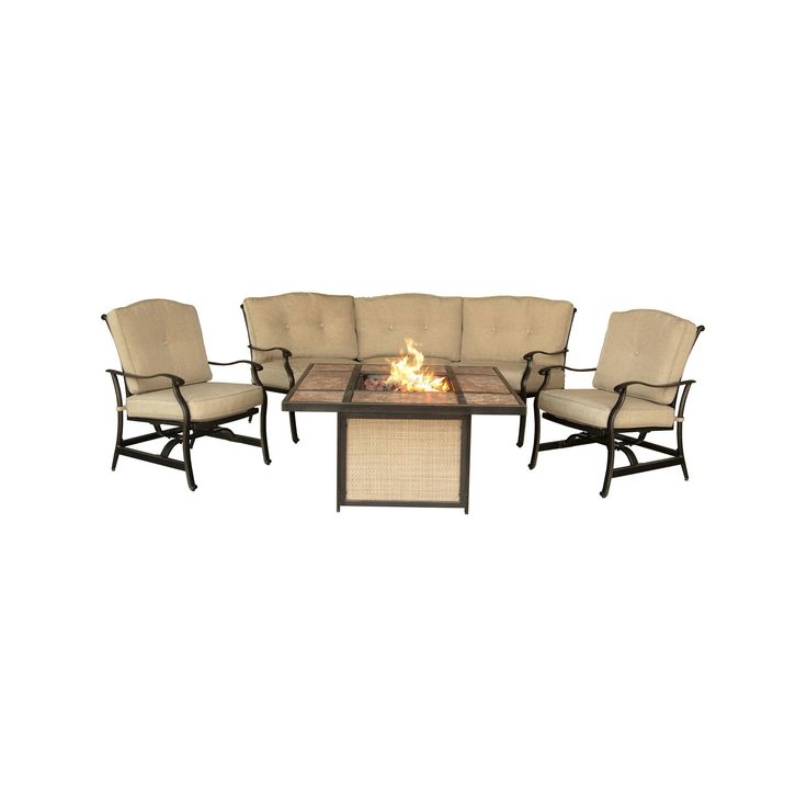 Traditions 4pc Metal Outdoor Lounge Set with Tile-top Fire Pit Brown/Beige- Hanover, Natural Oat