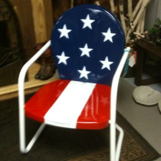 Patriotic retro lawn chair from Harpeth True Value in Franklin, Tennessee. Love it!