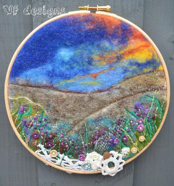 "handmade original wet felt 'The Moors' picture. 8"" embroidery hoop"