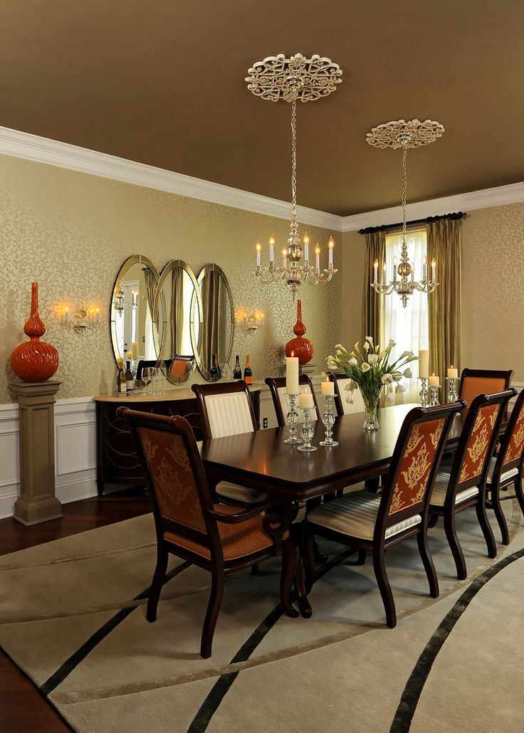 Dining Room Custom Area Rug Ceiling Treatment Medallion Color Wallpaper