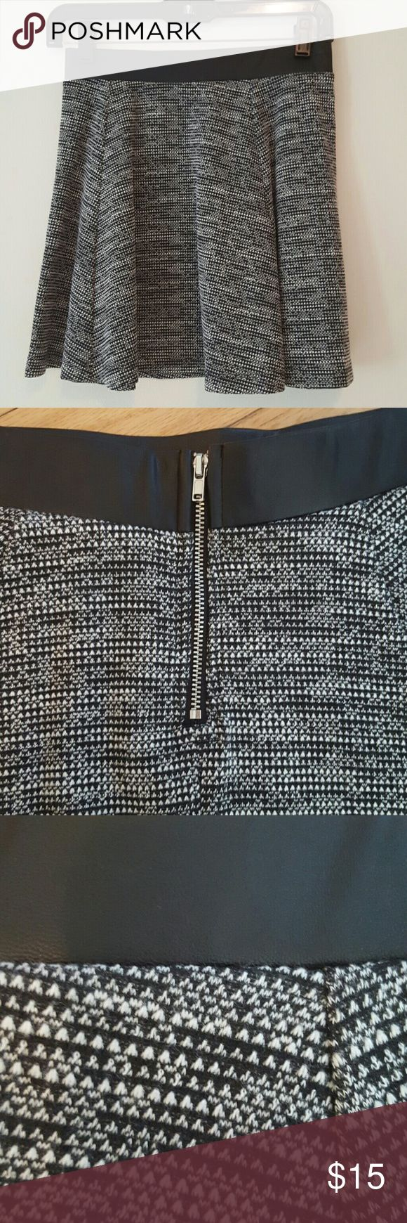 H&M skater skirt with faux leather waist. Small ...
