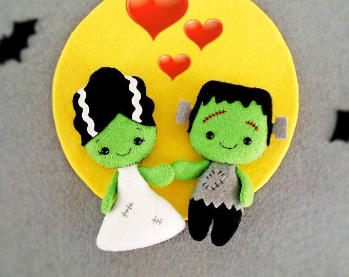 Halloween decoración novia de Frankenstein Creepy Cute Doll Halloween adornos juguetes fieltro Halloween regalo bebé ducha favores decoraciones de Halloween