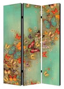 "Butterflies In Flight Chinese room divider.  48"" wide x 71"" tall x 1"" deep"