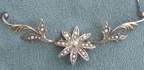 Antique-Victorian-Art-Nouveau-14k-Gold-Seed-Pearl-Floral-Necklace-Pendant