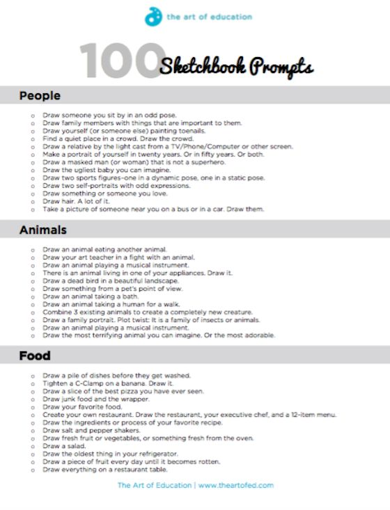 100 Sketchbook Prompts Your Students Will Love