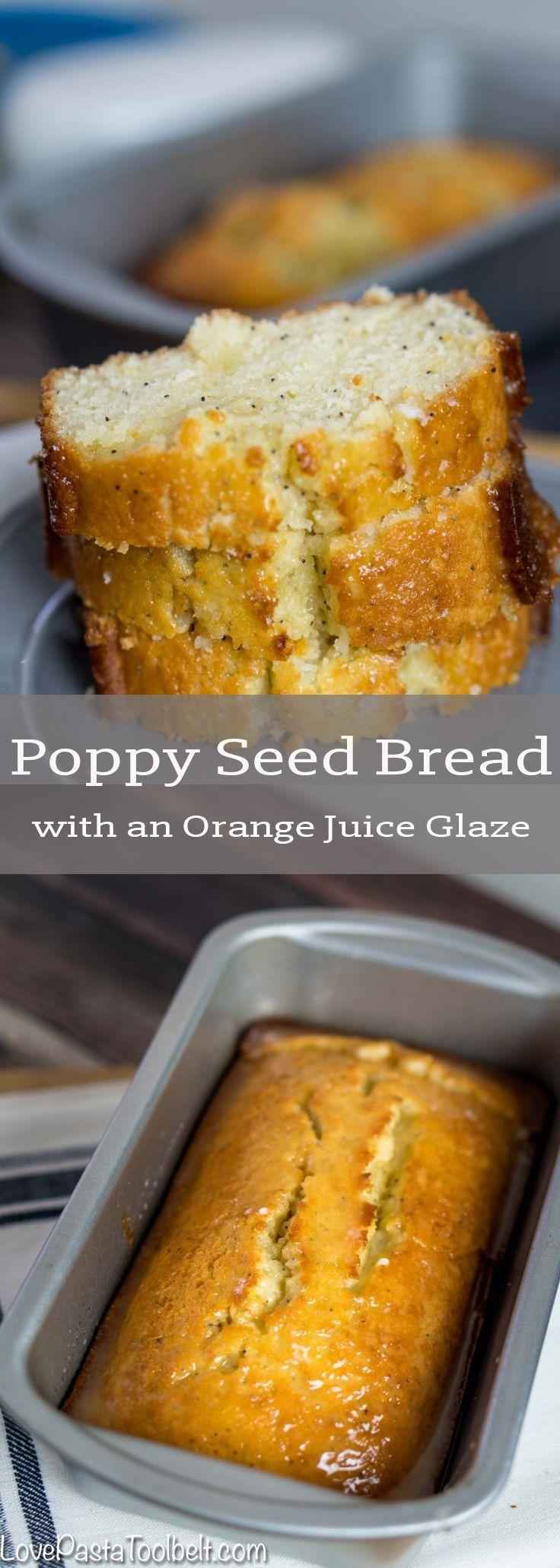 Poppy Seed Bread with an Orange Juice Glaze | Breakfast | bread | brunch | snack | glaze | orange juice | afternoon snack |    via @LovePastaBlog