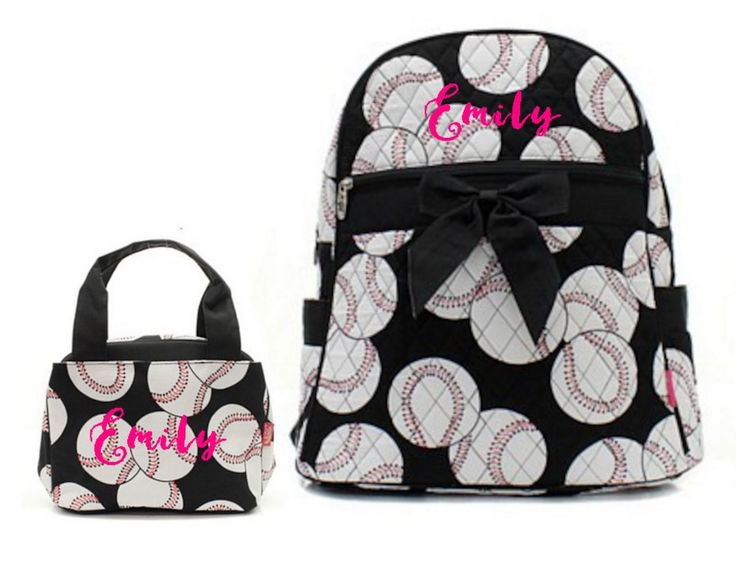 """Matching Backpack Lunch Bag Personalized Baseball Black 15"""" Quilted Backpack"""