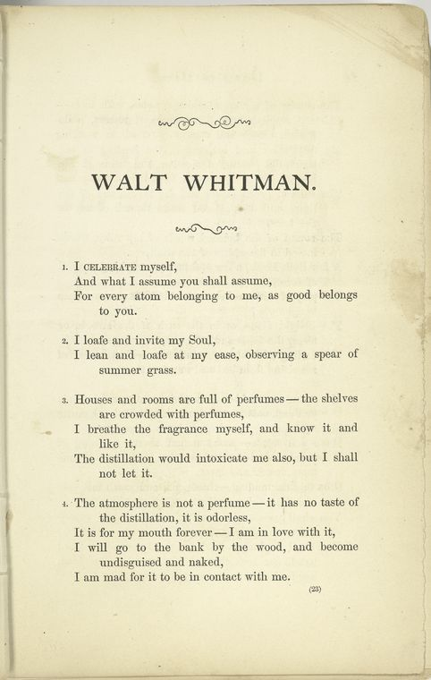 the poetry of whitman blake and At about age ten, blake had his first vision: a tree filled with angels mysticism is one of the hallmarks of his work while his poetry was not widely known during his lifetime, his writing and his art have continued to grow in popularity.