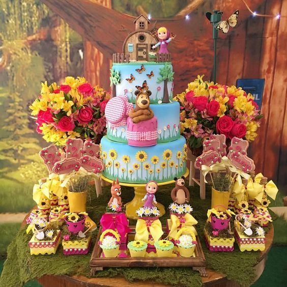 Resultado de imagen para imagenes de fiesta de cumpleaños de masha y el oso