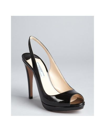 26f1dc02ecbc  Amy  Winehouse Back To Black - Prada - Black Patent Leather Peep Toe  Slingback Pumps - Lyst