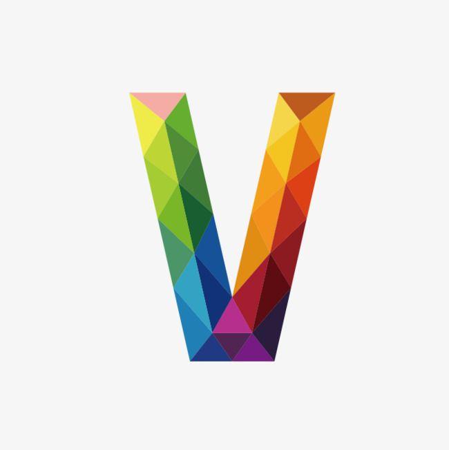 Colorful Letters V Png And Clipart Letter V Polygon Art Illustrator Tutorials