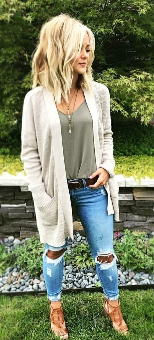 #winter #outfits gray camisole, gray knit long-sleeved cardigan, and distressed denim jeans outfit