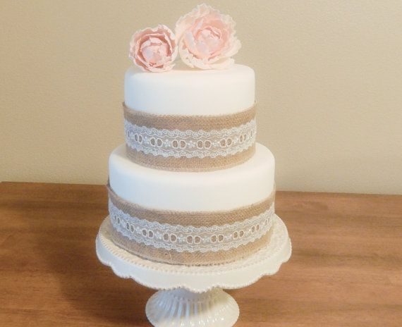 Two Tier Fondant Wedding Cake (artificial) with Burlap & Lace -- but with coral flowers and dark brown lace