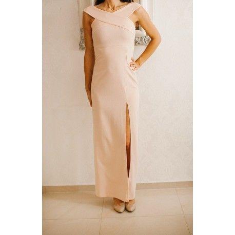 Kobieca pudrowa długa sukienka z ciekawym dekoltem X