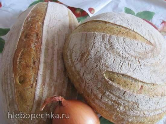 Хлеб с маком, луком и куркумой на закваске