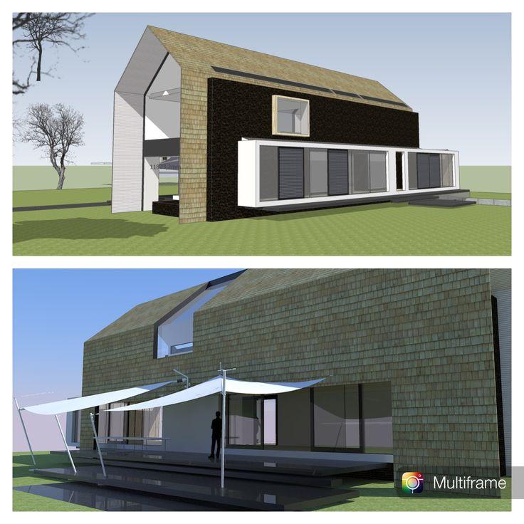 COLLO architecten, schetsplan voor een eigentijdse villa met kelder / garage in Santpoort-Zuid