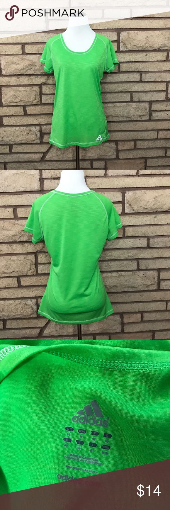 Adidas Workout Shirt 🌑Bright green light material   🌘In like new condition    🌗Material: 100% polyester  🌖Dimensions: 17in bust, 25in top to bottom  🌕Offers Welcome 🌔Fast shipping 🌓Sorry, no trades 🌒Bundle and save 30% off two or more items 🌑Free gift with every purchase Adidas Tops