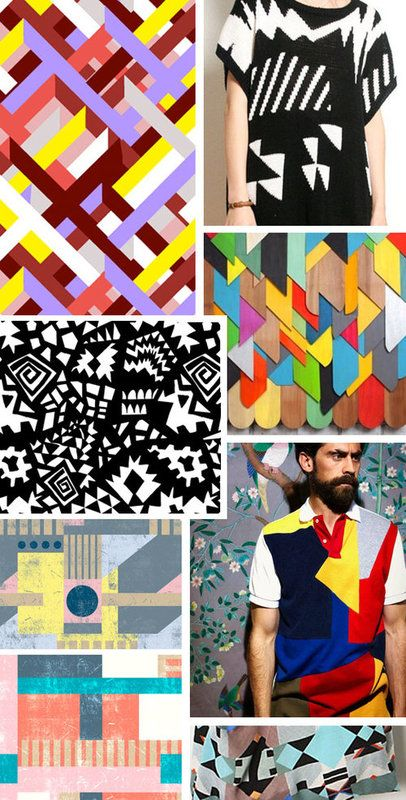 """PatternPeople: Inspiration - Bauhaus  """"Bauhaus textile designers like Ruth Holl and Gunta Stolz created wonderfully warm and rich geometric designs that were woven into rugs and other textiles. Today's designers continue the tradition with bold geometrics of all varieties, from large scale to small, super bright to black and white."""" -Claudia Brown"""