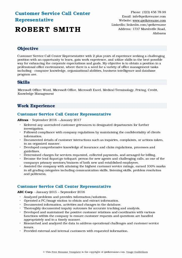 Call Center Customer Service Representative Resume Lovely Customer Service Call Center Representative Re In 2020 Call Center Job Resume Samples Customer Service Resume