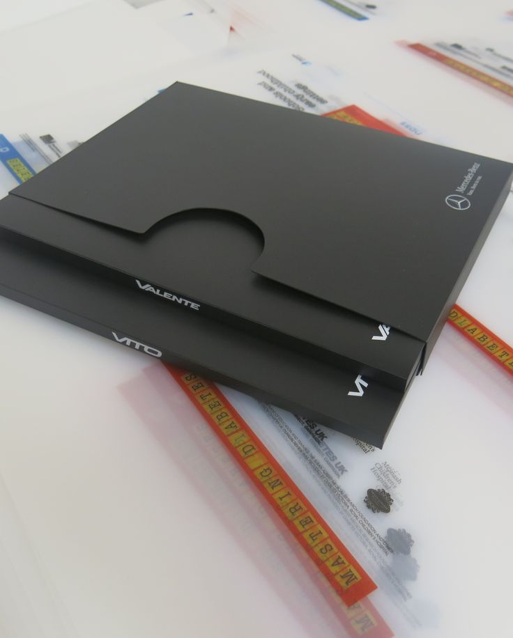 A4 Presentation Pack comprises 2 slim document wallets in a slip case - material is 100% recycled matt black PP with high gloss UV white print
