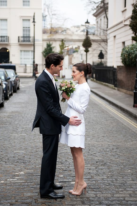 An Intimate London Elopement for a Valentino Bride... 60s style white Valentino short wedding dress with scalloped hem