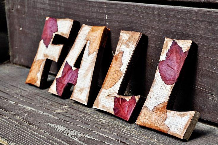 DIY Fall wooden letters - Dollar tree leaves, scrapbook paper, brown craft paint ~ tutorial