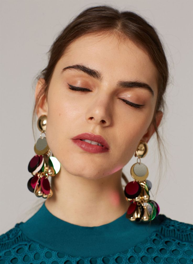 Long earrings with multicoloured sequins - View all - New in - Uterqüe United Kingdom