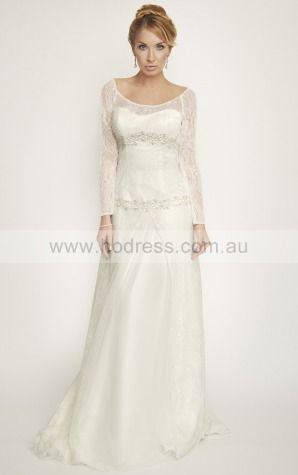 Princess Long Sleeves Scoop Buttons Floor-length Wedding Dresses fdaf1034--Hodress