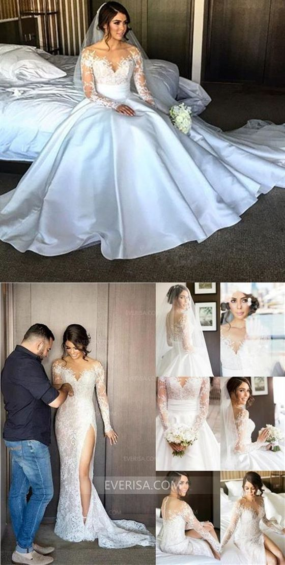 bd0fa46115da83 Unique White Long Sleeves Side Slit Lace Wedding Dresses Bridal Gown With  Detachable Satin Skirt