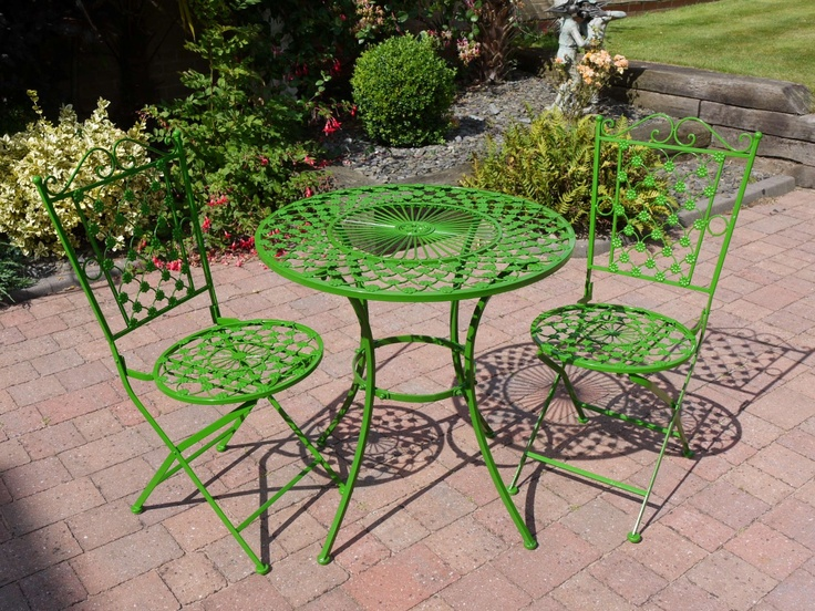 shabby chic flower green garden furniture wrought iron patio set - Garden Furniture Shabby Chic