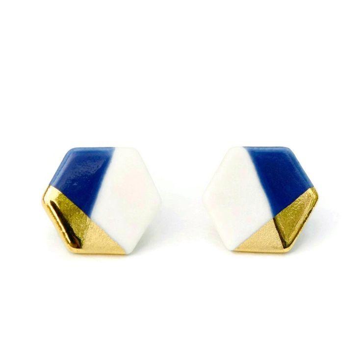 hexagon porcelain earrings, gold dipped by ashjewelrystudio on Etsy https://www.etsy.com/listing/168941893/hexagon-porcelain-earrings-gold-dipped