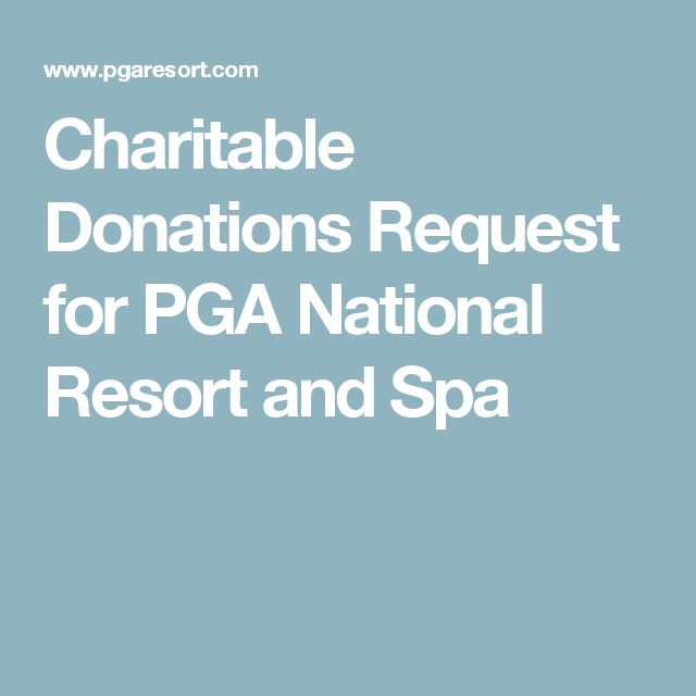 Charitable Donations Request for PGA National Resort and Spa