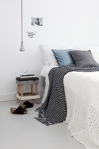 Bedroom #stool #bed #grey #blue #white #pillow #lamp #photo