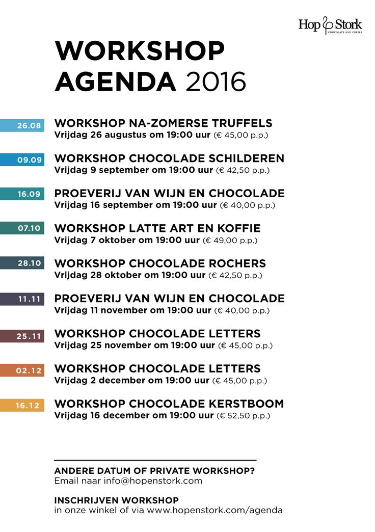 Our new workshop agenda for the second half of 2016 is here! With, among others, on June 12th the first chocolate paint workshop: http://hopenstork.com/chocoladeschilderen/ Check our calendar all for workshops and dates: http://hopenstork.com/agenda/