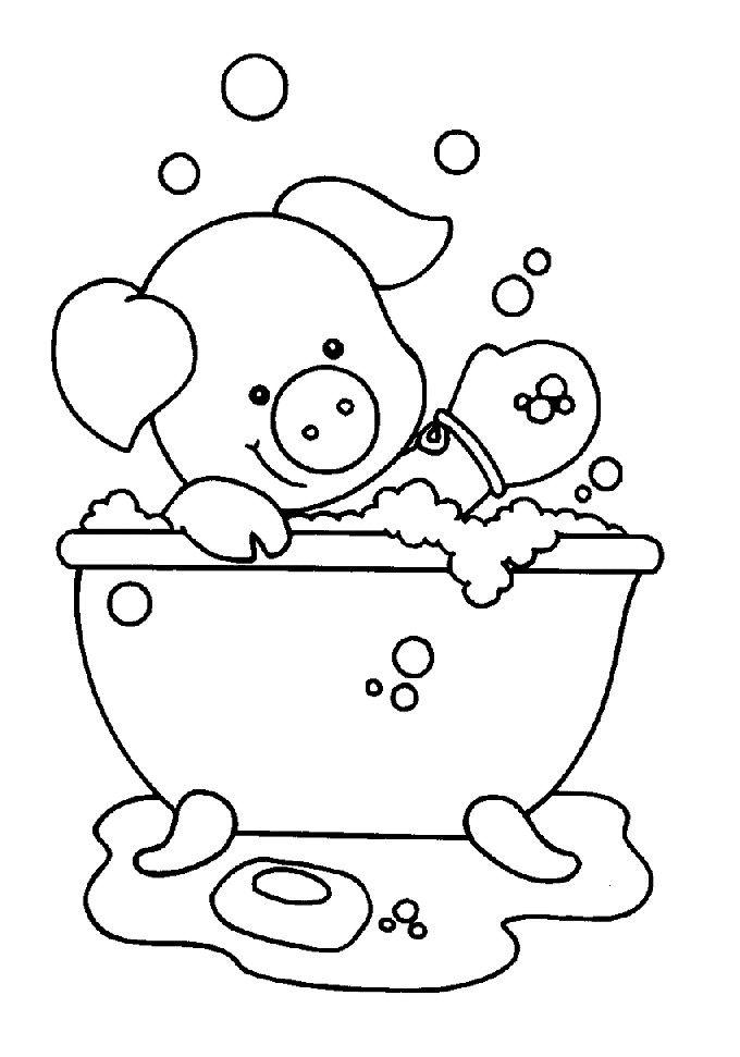Een olifantje in het bad