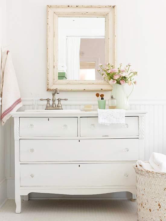 Pretty Cottage Bathroom With White Vintage Dresser Turned Vanity, Crystal  Knobs, Beadboard Backsplash And Shabby Chic Mirror.