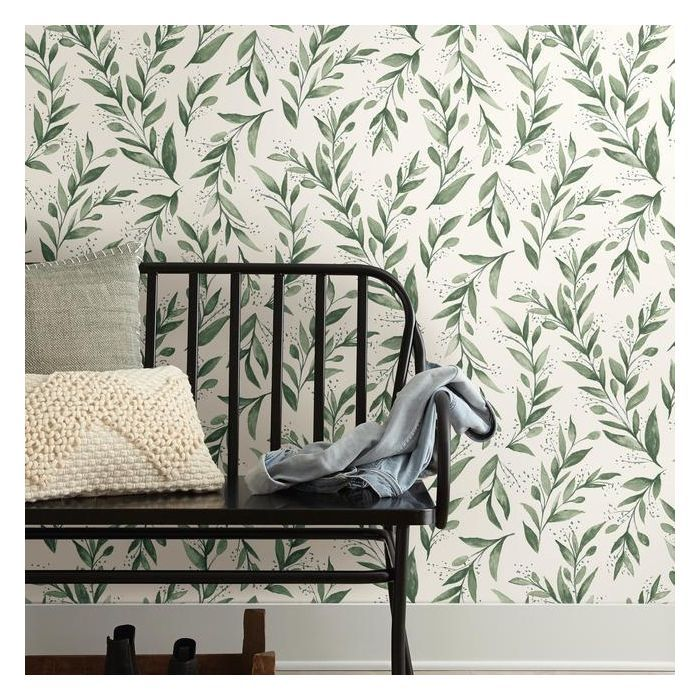 Olive Branch Premium Peel And Stick Wallpaper In 2020 Magnolia Homes Stripped Wallpaper Home Wallpaper