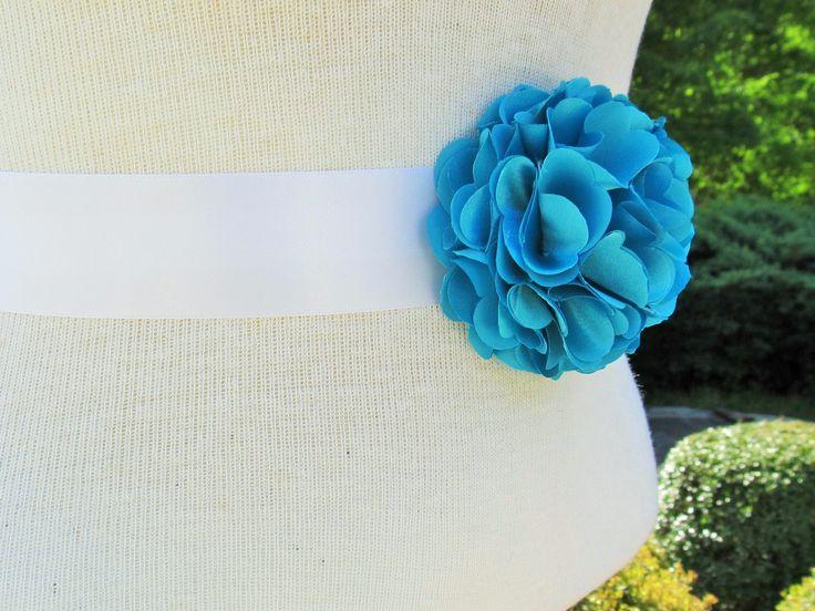 Turquoise Flower Bridal Sash/Wedding Sash/Maternity Sash/Flower Girl Sash/Bridesmaid Sash by BROWNIESBOWTIQUE on Etsy