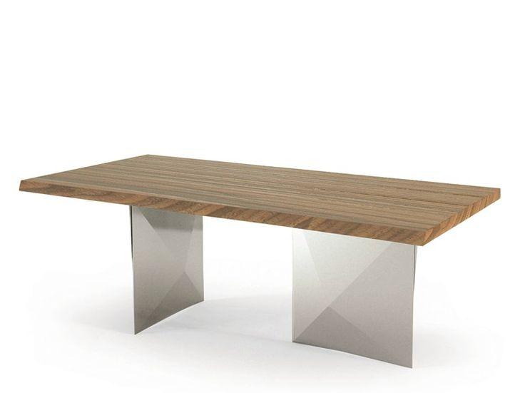 Tavolo da salotto rettangolare in acciaio e legno CUBRIC | Tavolo - RIFLESSI