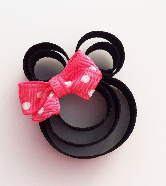 Mouse with a Pink Bow Ribbon Sculpture Hair Clip... Free Shipping Promo. $3.50, via Etsy.
