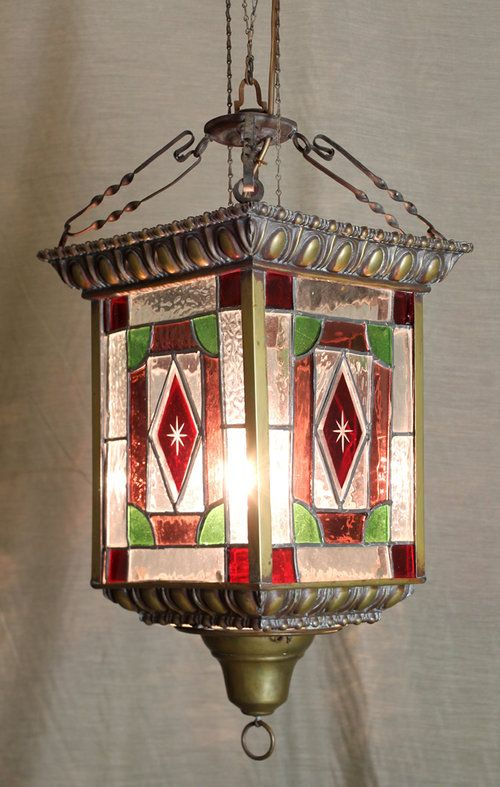 Antique Victorian Colourd Glass Porch Light