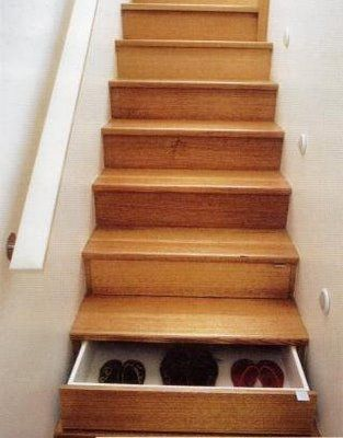 what a cool idea for extra storage--stair drawers!!!