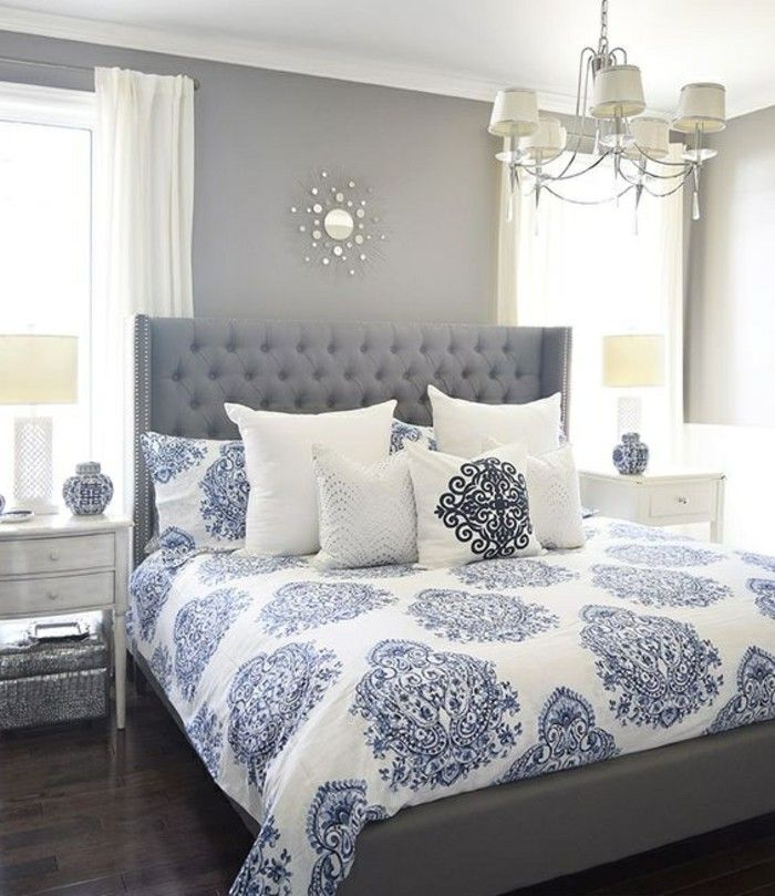 Gestaltung Schlafzimmer Graue Waende Graues Bett Kissen