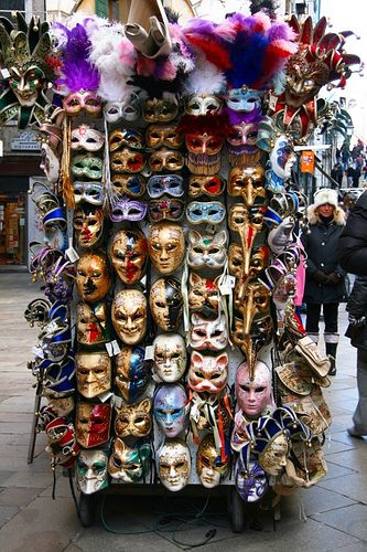 Carnival masks at a stand in Venice. Make great wall decorations!
