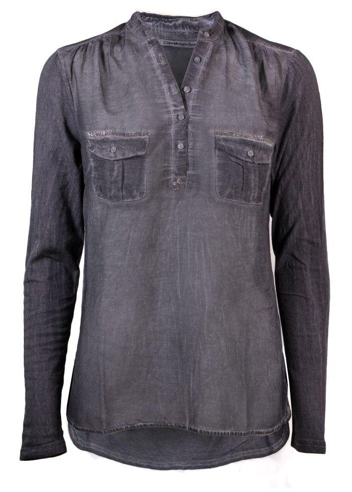 Copenhagen Luxe Skjorte mørkegrå 7344 Silk-Modal Shirt - dark grey – Acorns