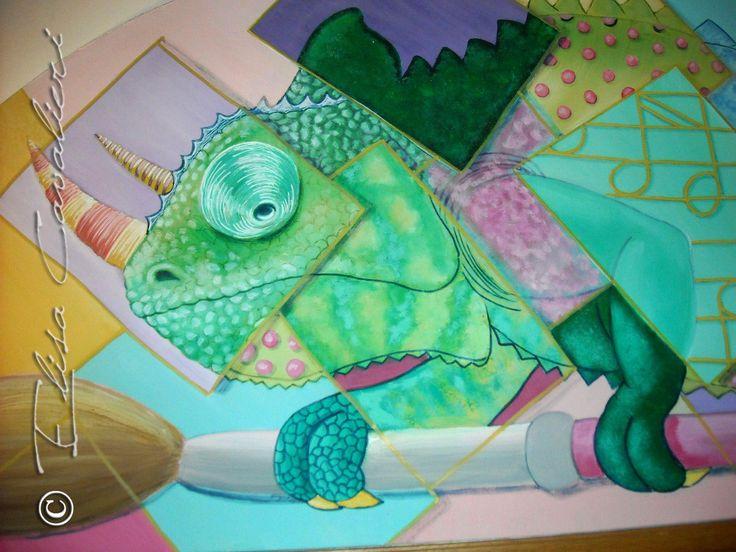 Funny Chameleon, acrylic on the wall. #art #artoftheday #arte #artistic #beautiful #creative #comics #cartoon #drawing #disegno #dipingere #decoration #decor #draw #furniture #graphic #graphics #grafica #idea #handmade #illustration #illustrazione #illustrations #bozzetto #instagood #instaart #instaartist #instadraw #instafollow #instalike #matita #paper #pen #pencil #painting #pittura #photo #photoediting #sketch #sketchbook #talent