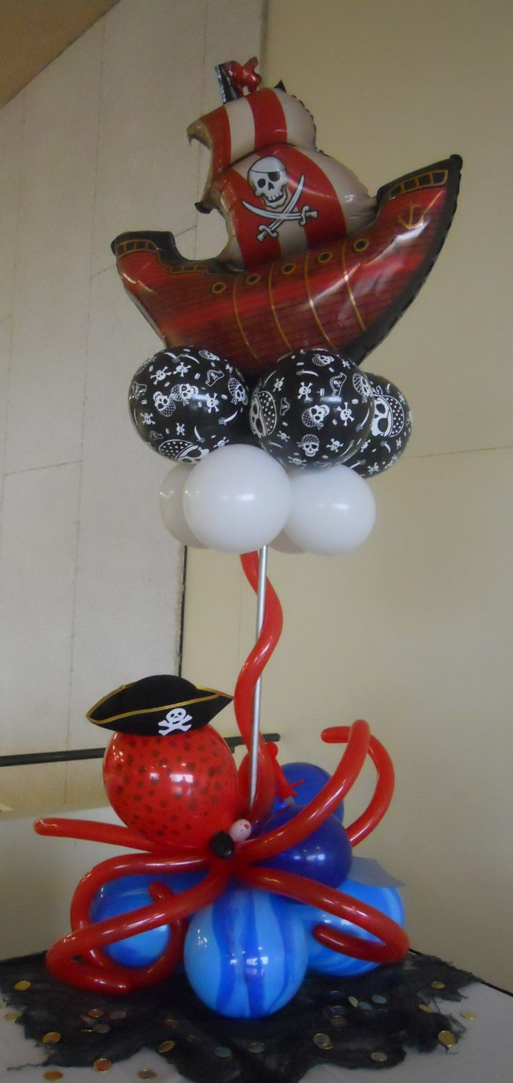 pirate balloon centerpiece - complete with under the sea octopus and gold coin bounty -  balloonstudiowichita.com