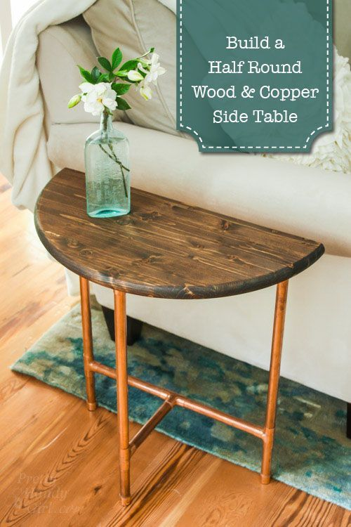 half round copper u0026 wood side table pretty handy girl - Side Tables For Living Room